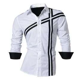 Domino White SC kemeja pria katun stretch putih