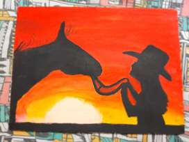 BEAUTIFUL SILHOUETTE PAINTING ON CANVAS
