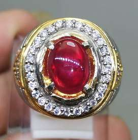 Cincin Batu Ruby Corundum Merah Delima Asli (Kode 808)