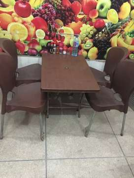Plastic chairs with table, Boss brand