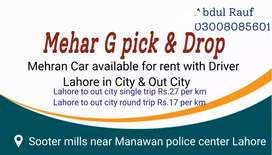 Mehran car for rent with Driver Lahore in City & out City