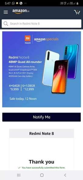 Redmi Note 8 4GB 64 gb