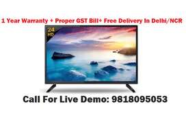 "24"" HD Ready Led TV With All over India 1 Year Onsite Warranty"