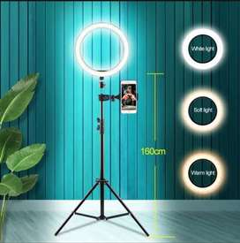 Black 7.5feet Tripod Stand With 26CM RingLight in 3 Colors