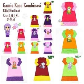 LARIS ! Gamis Kaos Motif Kombi All Size (kisaran 4-8th)