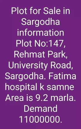 Plot for sale in Rehmat park uni road sargodha near chan one plaza