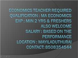 Economics Teacher - Required for Reputed School in Mayiladuthurai
