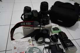 canon 60D + lensa Kit, Fix, Tele