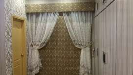 New curtains in olive green color