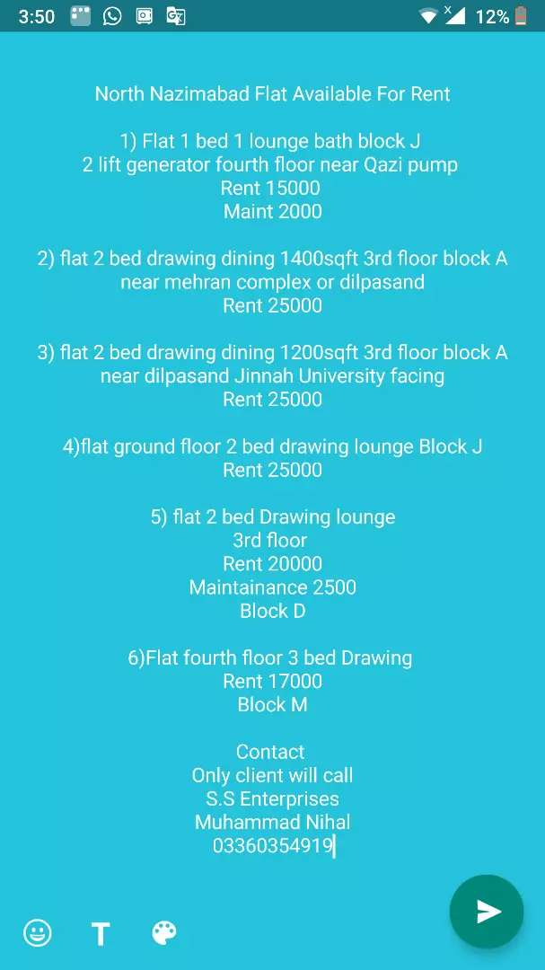 North Nazimabad Flat available for Rent 0
