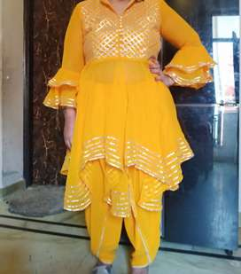 Yellow dhoti style brand new suit