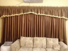 Brown valance curtains