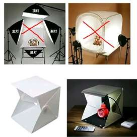 Mini Studio Foto box dengan Lampu LED / Midio - White & Black