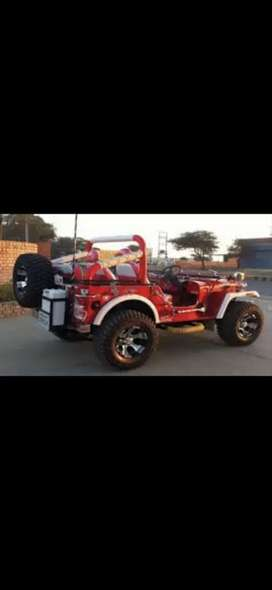 Willys Red jeep classic mahindra