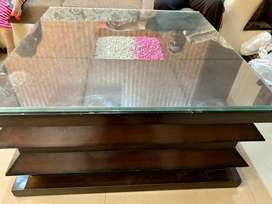 WOODEN TABLE GOOD CONDITION WITH GLASS