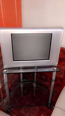 Sony WEGA TV 21 inch with woofers and Glass trolly