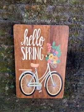 Lukisan Dinding Cafe Konsep Vintage Hello Spring Sepeda uk Besar 40x60