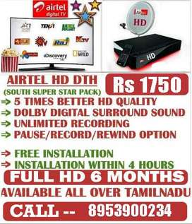 AIRTEL DTH HD BOX TAMIL HD PACK 6 Month FREE TATASKY DISH SUN D2H
