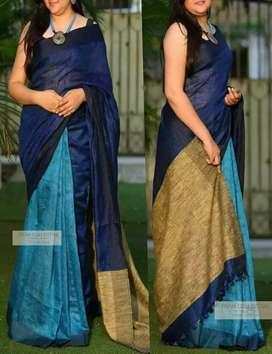 100% pure linen by linen saree bhagalpuri