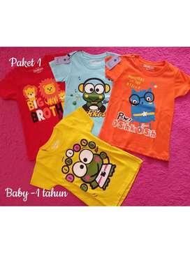 Paket Kaos harian anak cewek (Baby -1 tahun)