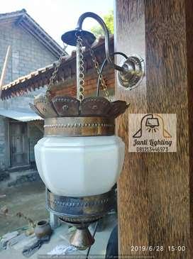 Lampu diding tempel antik klasik kuningan dekorasi lampu pilar lawas