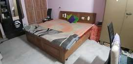 Double bed with storage boxes for sale