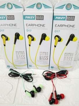 PROMO HF-EARPHONE HANDSFREE KABEL PINZY D17 ADA MIC BISA TLP-SUARA OKE