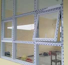 Jendela kaca kusen alumunium & kaca mati