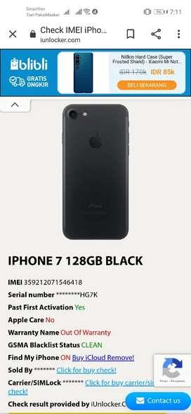 Jual iphone 7 128 Gb full set