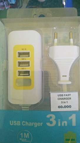 USB Charger 3 in 1 - 1A 2A Universal travel cas fast charging adapter