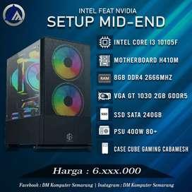 PC Gaming Editing Mid end Intel I3 10105F VGA GT 1030 2GB SSD 240GB