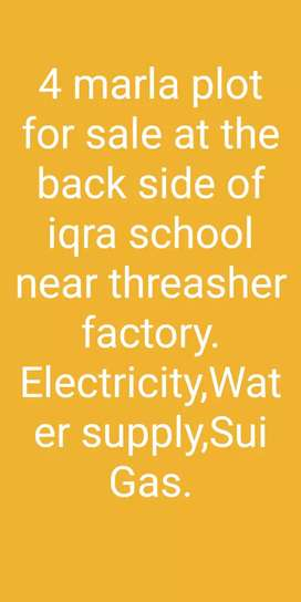 4 marla plot for sale at backside of iqra school near thresher factry.