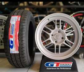 Paket velg+ban mobil racing murah ring 15 Rata GT radial Champiro eco
