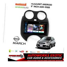Hu android Nissan march +frame 9inc pnp