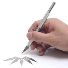WLXY Pisau Ukir Seni Hobby Crafting Art Knife Metal Handle with 4 PCS