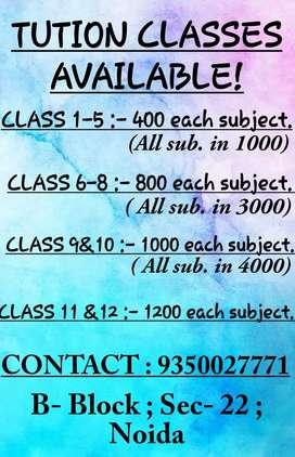 TUTION CLASSES IN SEC 22( B Block) NOIDA