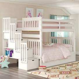 Bunk bed with stair and storage of solid wood