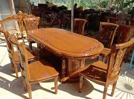 Meja makan salina k6 material kayu jati AJF02