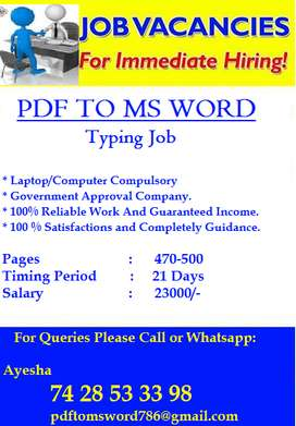 Work From Home Just Simple English Book Typing Work