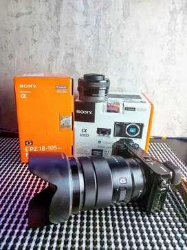 Sony A6000 + Kit 16-50mm + Lensa 18-105mm F4 G OSS