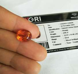 Oval cut 6,81 ct Natural Madeira Citrine, Good Flashing