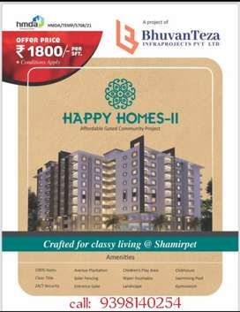 Gated community 2bhk flats 18 lakhs only+ 10k rent per month@shamirpet