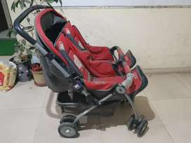 Twin pram red colour for 0 to 12 months infant