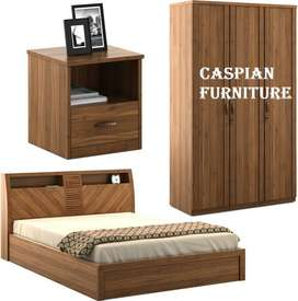 Caspian Furniture :- Wood Finish Bedroom Set