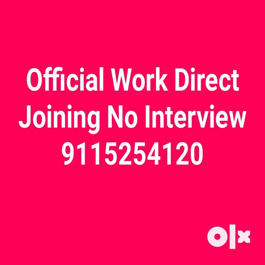 Official Works For 10th & 12th Pass No interview