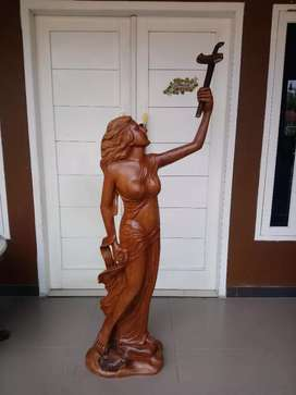 Patung wanita cantik kuno unik antik vintage kayu jati