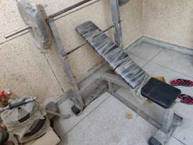 Gym equipment, bench and weights