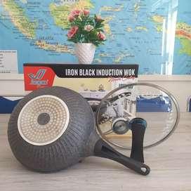 Wok Pan Iron Black Induction 30 Cm Jagoo