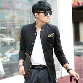 Blazer Pria Korean Style Casual Black Sticky Pocket – SK15