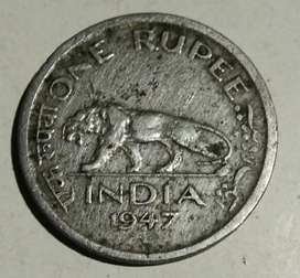 1 rupees old rare coin year 1947